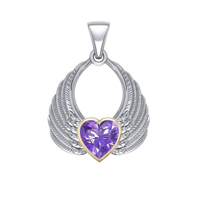 Gemstone Heart Angel Wings Silver and Gold Pendant MPD5169 Pendant