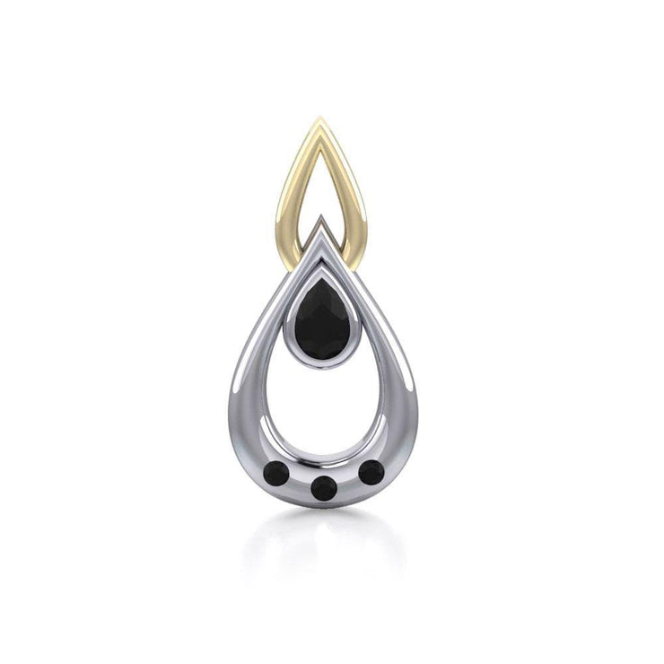 Black Magic Teardrop Silver & Gold Pendant MPD794 Pendant