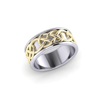 Intertwined eternity in all directions ~ Celtic Knotwork Sterling Silver Ring in Gold accent MRI1206 Ring