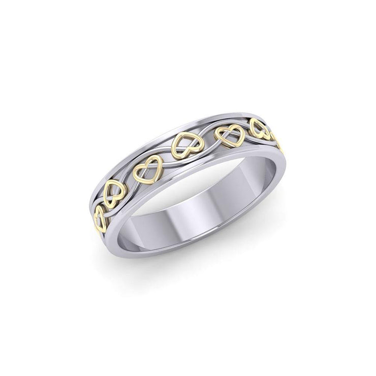 The ancient belief of everything eternal ~ Celtic Knotwork Sterling Silver Ring with 14k Gold Accent MRI1345 Ring