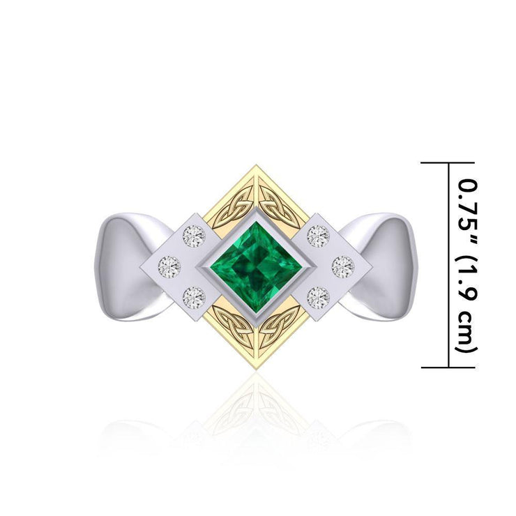 Adorned by the spiritual power of three ~ Celtic Trinity Knot Sterling Silver Ring with 18k Gold accent and Emerald and White Cubic Zirconia Gemstones MRI353