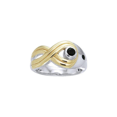 Black Magic Twisted Silver & Gold Ring MRI462 Ring