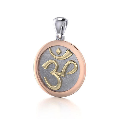 Om Medallion of Spiritual and Mystical Blessings ~ 14k gold and pink Pendant