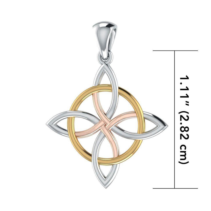 The Four power ~ Celtic Four-Point Sterling Silver Jewelry Pendant with 14k Gold and Pink accent