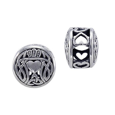 In the modest story of love, friendship, and loyalty ~ Celtic Knotwork Claddagh Sterling Silver Bead