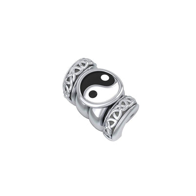 Yin Yang Symbol with Celtic Accented Silver Bead TBD365