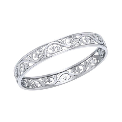 Filigree Leaf Silver Bangle TBG133 Bangle