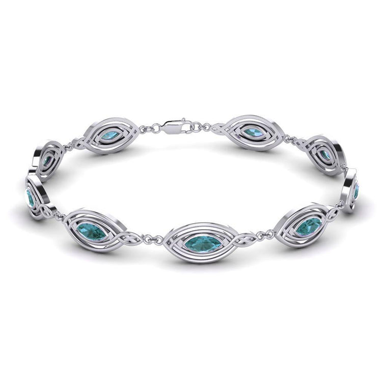 Celtic Knotwork with Choice of Gemstones Silver Bracelet TBG282
