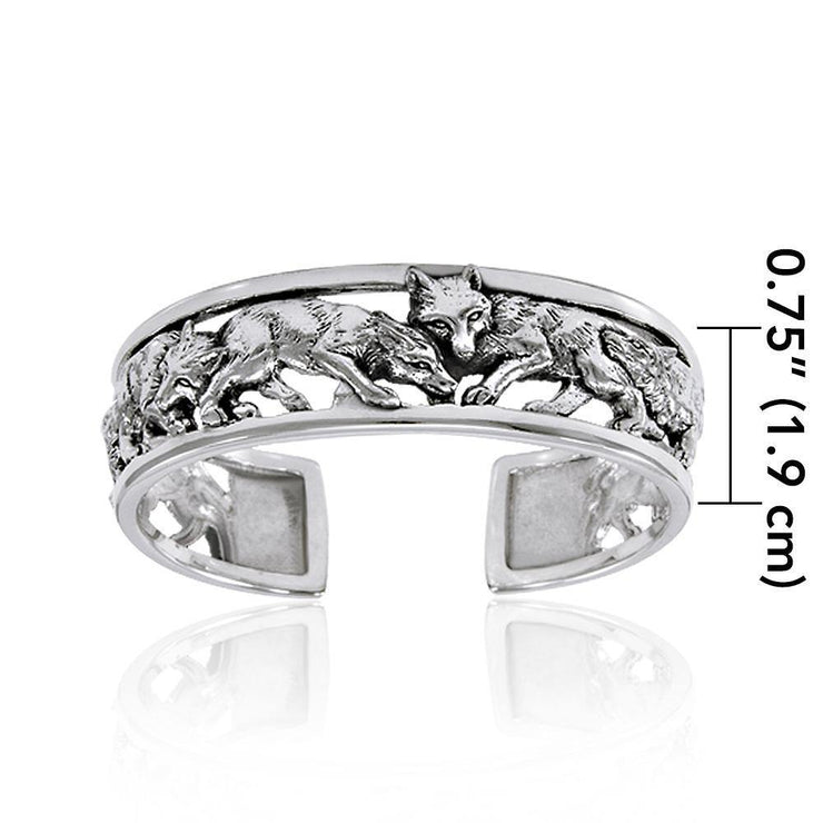 A wolf pack of passion and strength ~ Sterling Silver Jewelry Bangle TBG289 Bangle