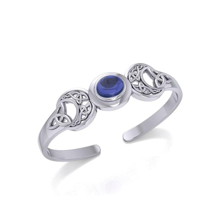 An absolute lunar enchantment ~ Celtic Blue Moon Sterling Silver Cuff Bracelet with a Gemstone Centerpiece TBG760