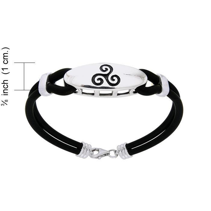 A balance of the mind, body, and spirit ~ Sterling Silver Celtic Triquetra Leather Cord Bracelet TBL192