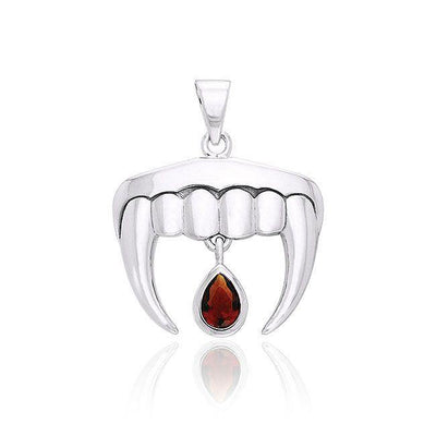 Vampire Teeth with Blood Drops Silver and Gem Pendant TPD2836