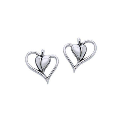 Citta Heart Silver Post Earrings TER1004 Earrings