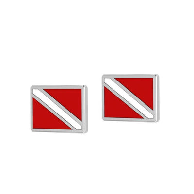 Dare to dive deep ~ Sterling Silver Jewelry Dive Flag Post Earrings TE2045