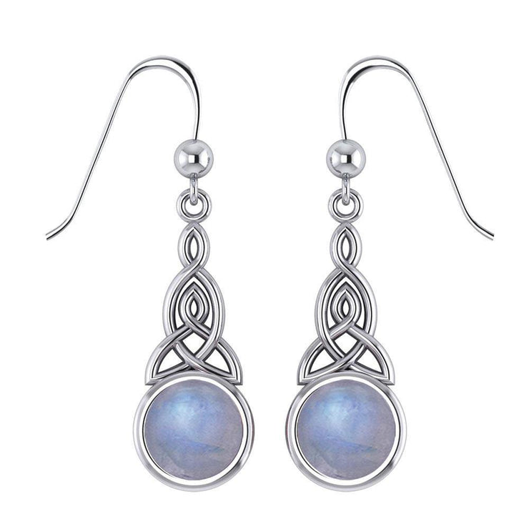 Celtic Triquetra Knot Silver Earrings with Opal TE2679