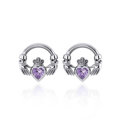 Irish Claddagh Silver Post Earrings with Gem TE277