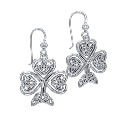 A wishful inspiration and luck ~ Celtic Knotwork Shamrock Sterling Silver Hook Earrings by Courtney Davis TE2919