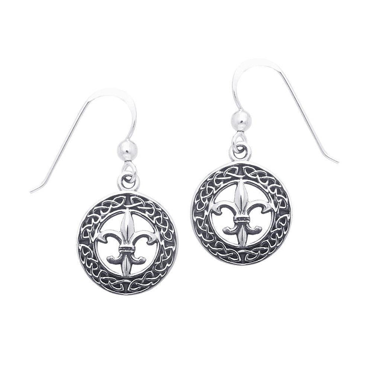 Celtic Knotwork Silver Fleur De Lis Earrings TER113