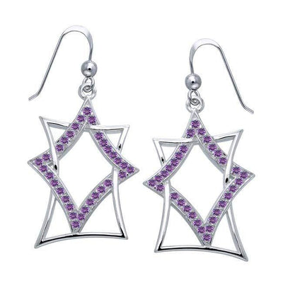 Modern Geometric Art TER1193-White Cubic Zirconia Earrings