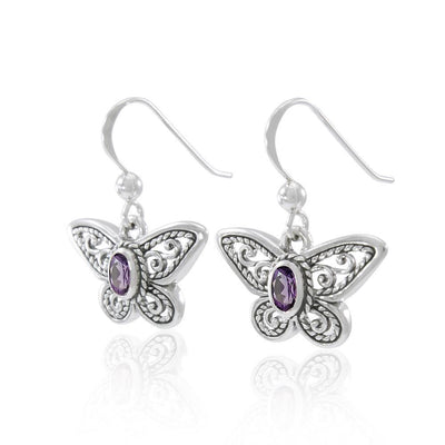 Delighted of the butterfly's beauty ~ Sterling Silver Jewelry Earrings with Gemstone TER1237