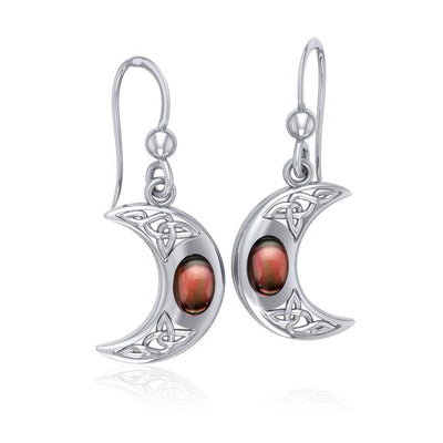 Celtic Knotwork Silver Crescent Moon Earrings TER147