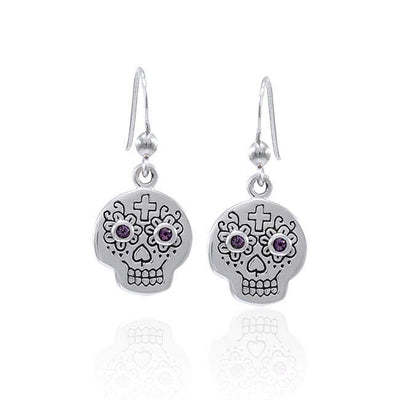 Dia de los Muertos Skull Gemstone Earrings TER1585