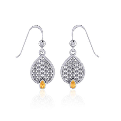 Flower of Life Mandala Silver Earrings with Gemstone TER1687 Earrings
