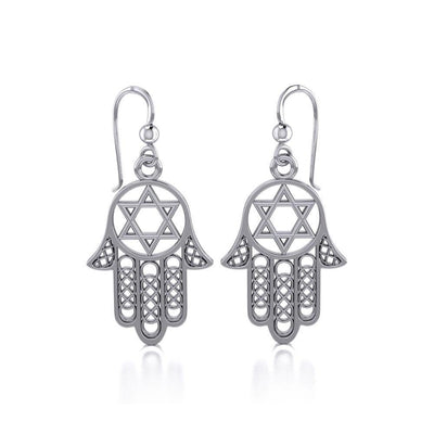 Hamsa Star of David Sterling Silver Earrings TER1699 Earrings