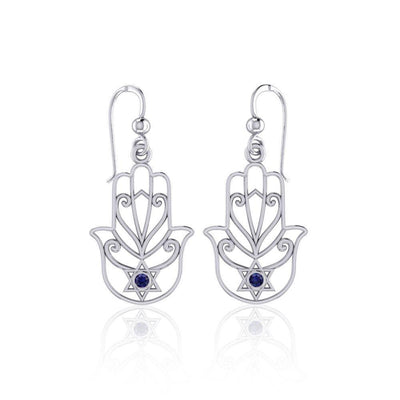Hamsa Star of David Sterling Silver Earrings with Gemstone TER1700
