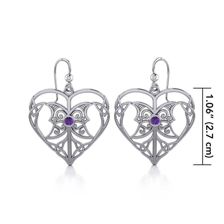Celtic Triple Goddess Love Peace Sterling Silver Earrings with Gemstone TER1702