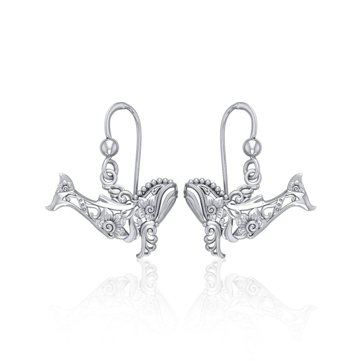 Tranquil guardians of the sea ~ Sterling Silver Whale Filigree Hook Earrings Jewelry TER1711