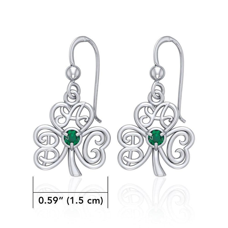 ABC Monogramming Shamrock Clover Silver Gemstone Earrings TER1720 Earrings