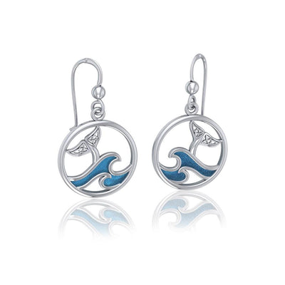 Sterling Silver Round Celtic Whale Tail Earrings with Enamel  Wave TER1727 Earrings