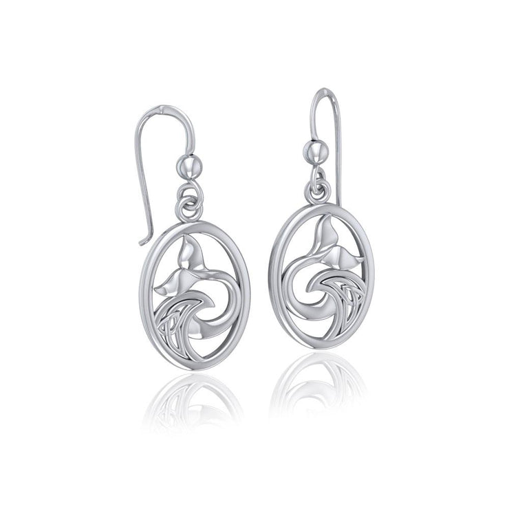 Sterling Silver Oval Whale Tail Earrings with Celtic Wave TER1728