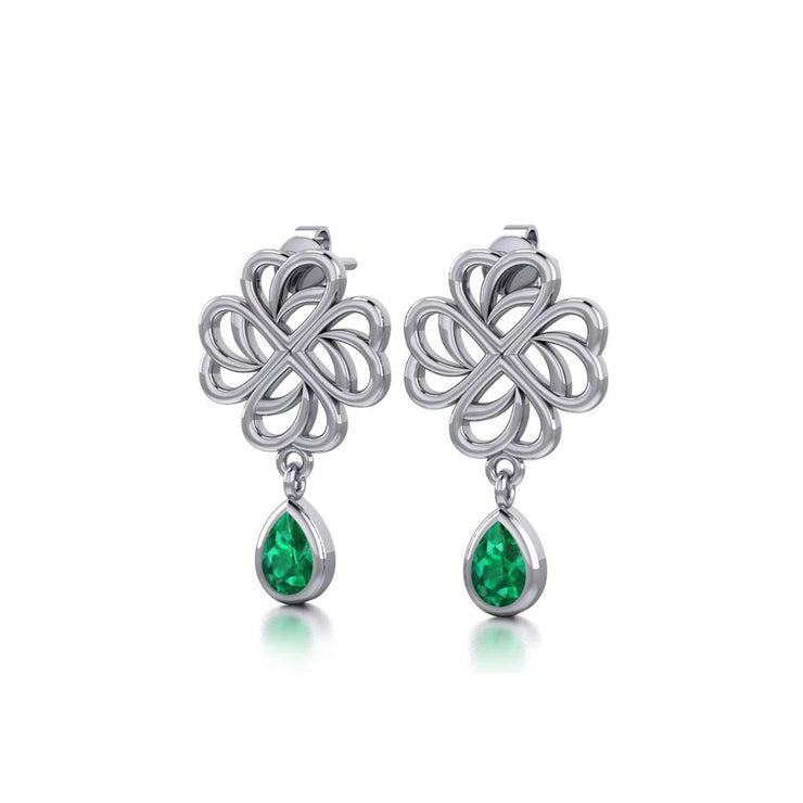 Lucky Four Leaf Clover Shamrock Silver Post Earrings TER1733