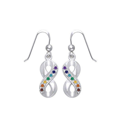 Infinity Silver Earrings with Chakra Gemstone TER1790-Mix  Gemstone Earrings