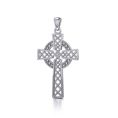 Modern Celtic Cross Silver Pendant TP1031