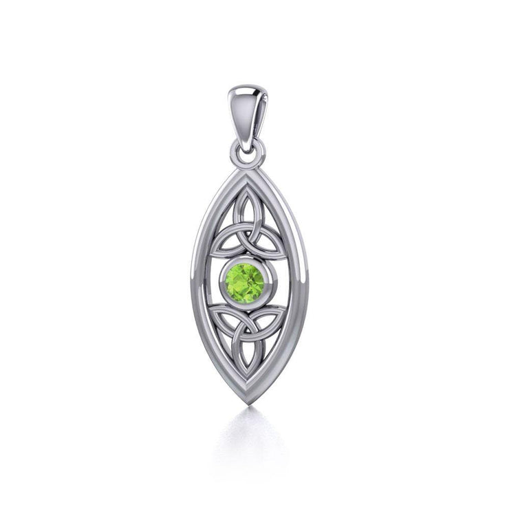 The everlasting power of the Holy Trinity ~ Sterling Silver Celtic Triquetra Pendant Jewelry with Gemstone TP1147
