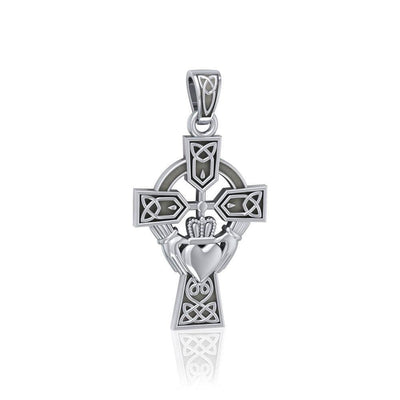 Celtic Cross and Irish Claddagh Silver Pendant TP1704