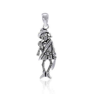 Pirate Skeleton with Spyglass Silver Pendant TP3058