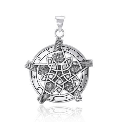 Universe Broom with pentacle Silver Pendant TP3471