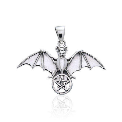 Bat Resting in the Sacred  Pentacle ~ Sterling Silver Pendant Jewelry TPD1078