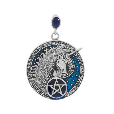 Celtic Unicorn Pentagram Sterling Silver Pendant TPD4742