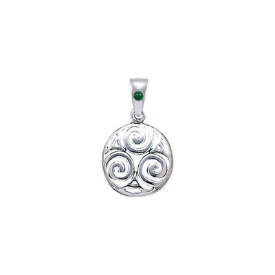 Never-ending Triskele ~ Sterling Silver Jewelry Pendant with Natural Green Agate Gemstone TPD4750