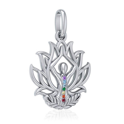Yoga Lotus Position Sterling Silver Pendant with Chakra Gemstone TPD5023 Pendant
