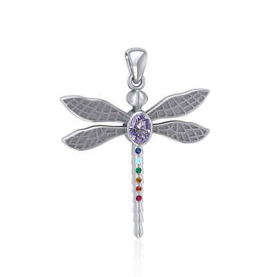 Spiritual Dragonfly Silver Pendant with Chakra Gemstone TPD5056