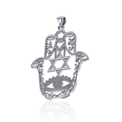 Hamsa Star of David Sterling Silver Pendant TPD5077 Pendant