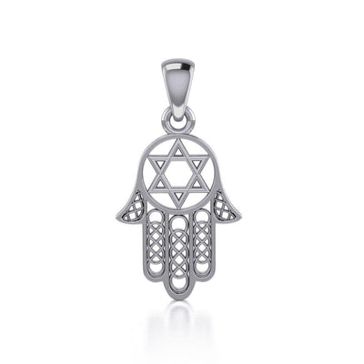 Hamsa Star of David Sterling Silver Pendant TPD5090 Pendant