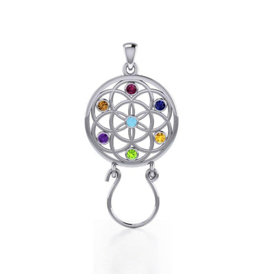 Flower of Life Silver Charm Holder Pendant with Chakra Gemstone TPD5096 Pendant