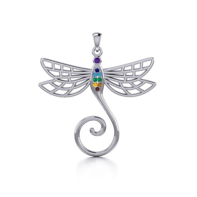 Dragonfly Silver Charm Holder Pendant with Chakra Gemstone TPD5097 Pendant